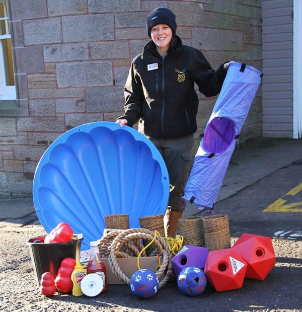 Edinburgh Zoo keeper shows off some of the donated items