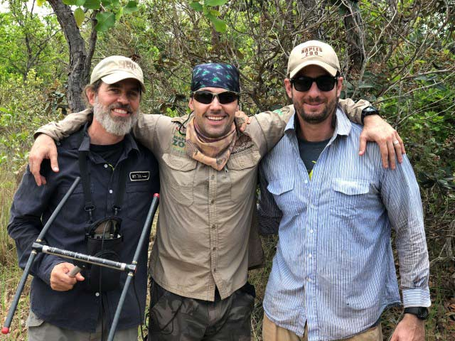The Giant Armadillo Conservation Project team - Arnaud, Danilo and Gabriel